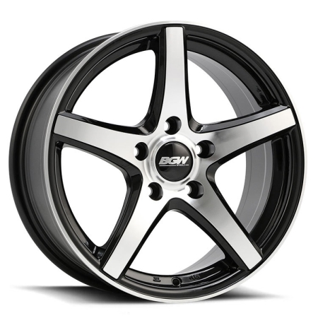 16X7 BGW 5X100/114.3 35 RATCHET GLOSS BLACK W MACHINED FACE