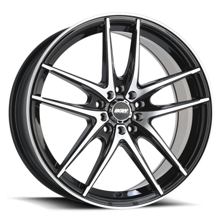 18X8 BGW 5X100/114.3 45 VAULT GLOSS BLACK W MACHINED FACE