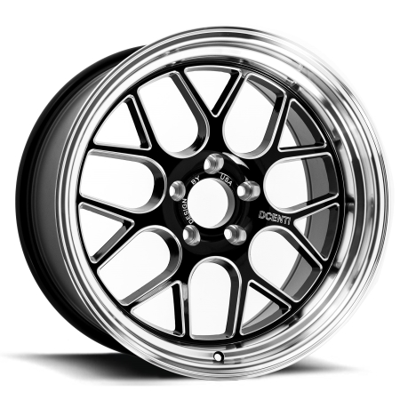 18X9 BGW 5X114.3 25 DC MESH GLOSS BLACK W ML & MILLED SPOKES