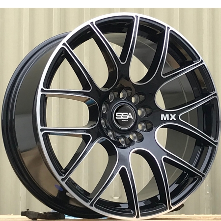 18X8.5 SSA 5X114.3/120 40 EDGE GLOSS BLACK MACHINED