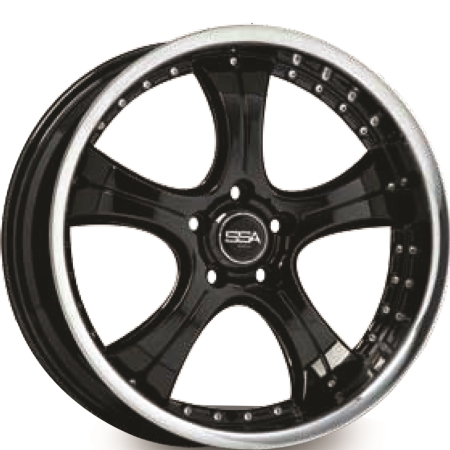 19X9.5 SSA 5X114.3 38 G-FORCE GLOSS BLACK STAINLESS STL LIP