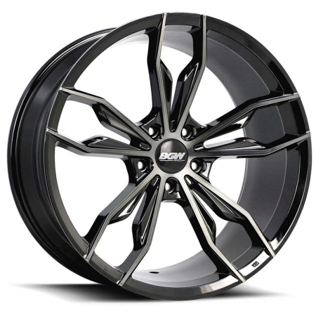 19X8.5 BGW 5X108 45 CINDER GLOSS BLACK W MF & DARK TINT