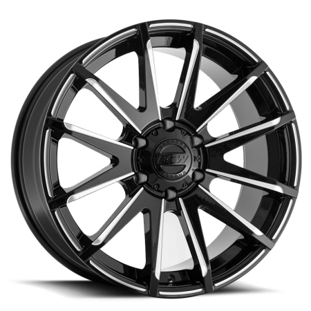 20X9 BGW 6X139.7 12 CROSSFIRE GLOSS BLACK W MILLED SPOKES